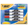 BIC Great Erase Bold Dry Erase Markers, Chisel Tip, Assorted, 4/Pack (BICDECP41ASST)