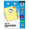 Avery WorkSaver Big Tab Reinforced Dividers, Multicolor Tabs, 8-Tab, Letter, Buff (AVE11111)